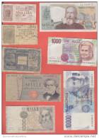 Banconote Lire Repubblica Italiana 8 Pezzi Da Classificare - Italie