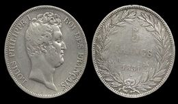 LOUIS - PHILIPPE I . 5 FRANCS . 1831 B . ( ROUEN ). TRANCHE EN CREUX . - France