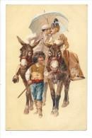 13280 - Couple Le Baiser Sur Deux ânes Conduit Par Un Enfant - Couples