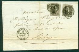 10A (2x) Sur Lettre Oblitération à Barres 24 De Bruxelles CàD Bruxelles Le 8 Septembre 1858 (lot 521) - 1858-1862 Médaillons (9/12)