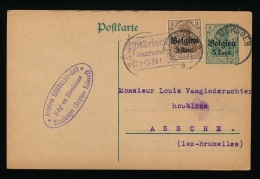 BRIEFKAART 1917 VAN STAMBRUGES NAAR ASSCHE - DUITSE STEMPEL SOIGNIES - GEHANDTEKEND DOOR EIGENAAR A.GOSSELIN 2 SCANS