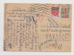 France, 1960, Carte Postale, Semeuse Lignée De Piel, 0,20 F, Mont-de-Marsan (40), 3-4-65 - Ganzsachen