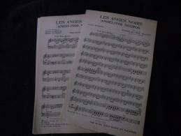 """2 Partitions Chanson Espagnole  """"Les Anges Noirs - Angelitos Negros"""" / """"Nous Irons En Vacances"""" - Partitions Musicales Anciennes"""