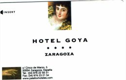 HOTEL GOYA ZARAGOZA, Llave Clef Key Keycard Hotelkarte - Hotel Labels
