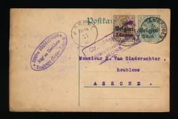 BRIEFKAART 1916 VAN STAMBRUGES  NAAR ASSCHE - DUITSE STEMPEL MONS  - GEHANDTEKEND DOOR EIGENAAR A.GOSSELEIN 2 SCANS