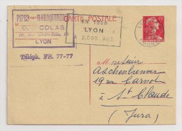 France, 1955-61, Carte Postale, Marianne De Muller, 15 F, Lyon, 22-5-58 Flamme - Ganzsachen