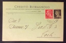 SOGLIANO AL RUBICONE  FORLI´ 1936 - CREDITO ROMAGNOLO AGENZIA DI SOGLIANO - CARTOLINA CON TIMBRI E FIRMA - Pubblicitari