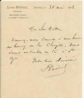 BELLEME LOUIS BOISSEL HUISSIER ANNEE 1893 PETITE LETTRE - France
