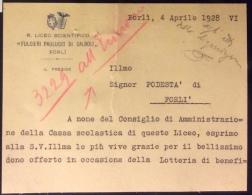 FORLI´ 1928 - BIGLIETTO R.LICEO SCENTIFICO FULCIERI PAULUCCI DI CALBOLI - CON STEMMI E FIRMA AUTOGRFA DEL PRESIDE - Titres De Transport