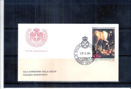 1 FDC Ordre De Malte 1984 -Série Complète - Tableau - Cheval - Malte (Ordre De)
