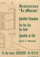 PUBLICITE LE RESTAURANT LE MARAIS 10 RUE LESSON A ROCHEFORT - Visitenkarten