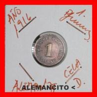 ALEMANIA  -   IMPERIO  -  DEUTSCHES REICH - 1 Pfn: AÑO 1916-D - [ 2] 1871-1918 : Imperio Alemán