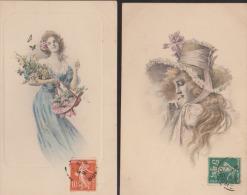 Lot De 2 CPA:Viennoises:Femme En Pied Et Femme Au Chapeau - Otros