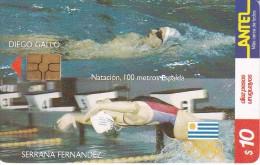 Nº 135 TARJETA DE URUGUAY DE ANTEL DE NATACION - Uruguay