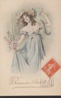 CPA:1er Avril:Viennoise:Femme Avec Fleurs Et Poisson - 1er Avril - Poisson D'avril