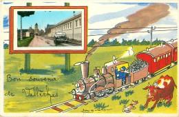 Cpsm  VELLECHES 86 Bon Souvenir De Vellèches Par Jean De Pressac - Train, 403 - Autres Communes