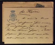 FORLI´ 1910  - BIGLIETTO CON STEMMA DEL CONSIGLIO PROVINCIALE DI FORLI' - AUTOGRAFO CON FIRMA - COMPLETO DI BUSTA - Titres De Transport
