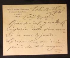 FORLI´ 1916  -  BIGLIETTO FURIA PROF.EUGENIO R.ISTITUTO E R.SCUOLA TECNICA - AUTOGRAFO CON FIRMA - Titres De Transport