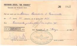 RICEVUTA Aerodromo Oficial San Fernando Per Un Volo Di 35 Minuti (2 Marzo 1953) - Altri