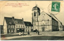 CPA 10 AIX EN OTHE L EGLISE DE LA NATIVITE ET LA PLACE DE L EGLISE 1912 - France