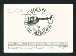 UK  -  QSL Card  County Air Ambulance  As Scan - Radio