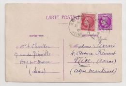 France, 1945-46, Carte Postale, Cérès De Mazelin, 1,50 F, Bry-sur-Marne (Seine), 28-10-46 - Ganzsachen