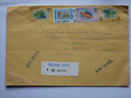 BELIZE AIR MAIL REGISTERED 1988 COVER BELIZE CITY TO ENGLAND - Belize (1973-...)