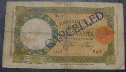 *UNIQUE* GREAT BRITAIN - ITALY 50 LIRE ND 1943 (OLD DATE 1933), CANCELLED BY BRITISH ARMY II W.W., PICK, ORIGINAL SEAL - British Military Authority