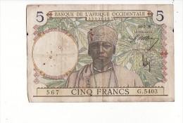 Billet 5 (cinq) Francs Afrique Occidentale Du 10-03-1938 / Etat Moyen - Billets