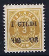 ICELAND Mi Nr  23 B , Fa 20 MH/* Falz / Avec Charnière   Perfo 12.5   Crown  3 Mm - Neufs