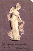 [DC4366] CARTOLINA - FIGURA FEMMINILE DONNA - Viaggiata 1901 - Old Postcard - Cartoline
