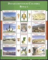 Colombia 2006 Sheet/12 Boyaca -artifacts,emerald,glacier,coa,landscapes #1266 - Colombia