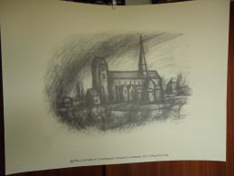 LOBBES - COLLEGIALE ST URSMER - Lithographie De BEN GENAUX - Réedition De 2005 - Lithographies