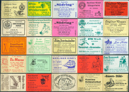 25 Alte Gasthausetiketten Aus Berlin, Deutschland Mit Postleitzahl 1000, #16 - Luciferdozen - Etiketten
