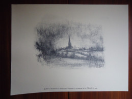 LOBBES - COLLEGIALE ST URSMER VUE DE LOIN (PAYSAGE) - Lithographie De BEN GENAUX - Réedition De 2005 - Lithographies