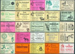 25 Alte Gasthausetiketten Aus Berlin, Deutschland Mit Postleitzahl 1000, #5 - Luciferdozen - Etiketten