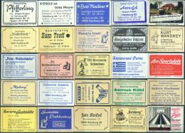 25 Alte Gasthausetiketten Aus Hamburg, Deutschland Mit Postleitzahl 2000, #3 - Luciferdozen - Etiketten