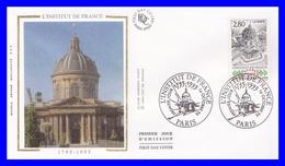 2973 (Yvert) Sur FDC Illustrée Sur Soie Paris - Bicentenaire De L´Institut De France - France 1995 - FDC