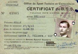 510Bf   Carte De Brevet Sportif Scolaire Office Du Sport Scolaire Universitaire Lycée D. Villars à Gap - Militaria