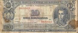Billet - BOLIVIE -  10 Bolivianos - 20.12.1945 - Série C - Banco Central De Bolivia - Bolivie