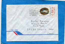 MARCOPHILIE- Lettre-  ST PIERRE -pour Françe-cad1989-+flamme  Timbre 501-révolution - Lettres & Documents