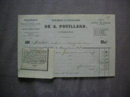 CHARLEVILLE DE A. POUILLARD IMPRIMERIE ET LITHOGRAPHIE  COURRIERS DES ARDENNES FACTURE  DU 22 SEPTEMBRE 1863 - Imprimerie & Papeterie