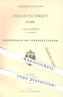 Original Patent - Carl Mewes In Neuruppin , 1879 , Türschlösser , Türschloss , Tür , Schloss , Schlosserei , Schlosser ! - Historische Dokumente