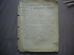 ANGECOURT A.DACREMONT-JACQUET FONDERIE DE CUIVRE COURRIER DU 4 JANVIER 1923 - 1900 – 1949