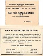 510Bf   Carte Et Ticket Route Automobile Puy De Dome Conducteur Passager Tacot - Titres De Transport