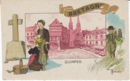 Bretagne, Quimper, Marechaux Artist Signed Image, C1930s Vintage Postcard - Bretagne