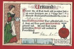 HAR-17  Urkund Certificat De Beuverie à La Fète De La Bière à Munich, Munchen. Litho. Gelaufen In 1912 - Humour