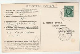 1936 KIRDFORD BILLINGSHURST Cds Pmk COVER Postcard METEOROLOGY Report  WEATHER STATION Re THUNDERSTORM Gb Gv Stamps - Climate & Meteorology