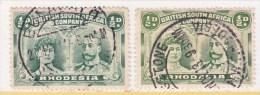 BR. SOUTH  AFRICA CO    101 X 2   (o)   TOWN CANCELS - Southern Rhodesia (...-1964)