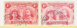 BR. SOUTH  AFRICA CO    102 X 2  #2    (o)   TOWN  CANCELS - Southern Rhodesia (...-1964)